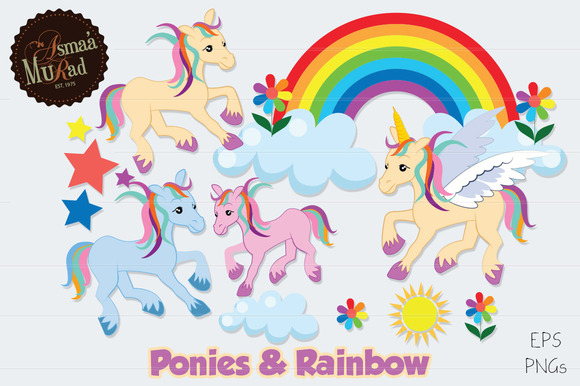 Ponies Unicorn And Rainbow