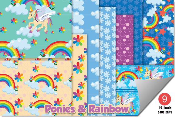 Rainbow Ponies Unicorn Digital Paper