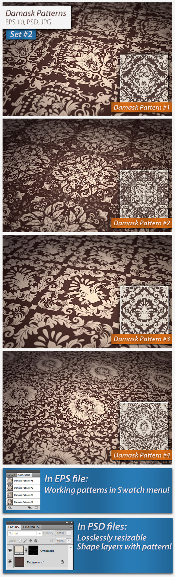 Vector Seamless Damask Patterns Set2