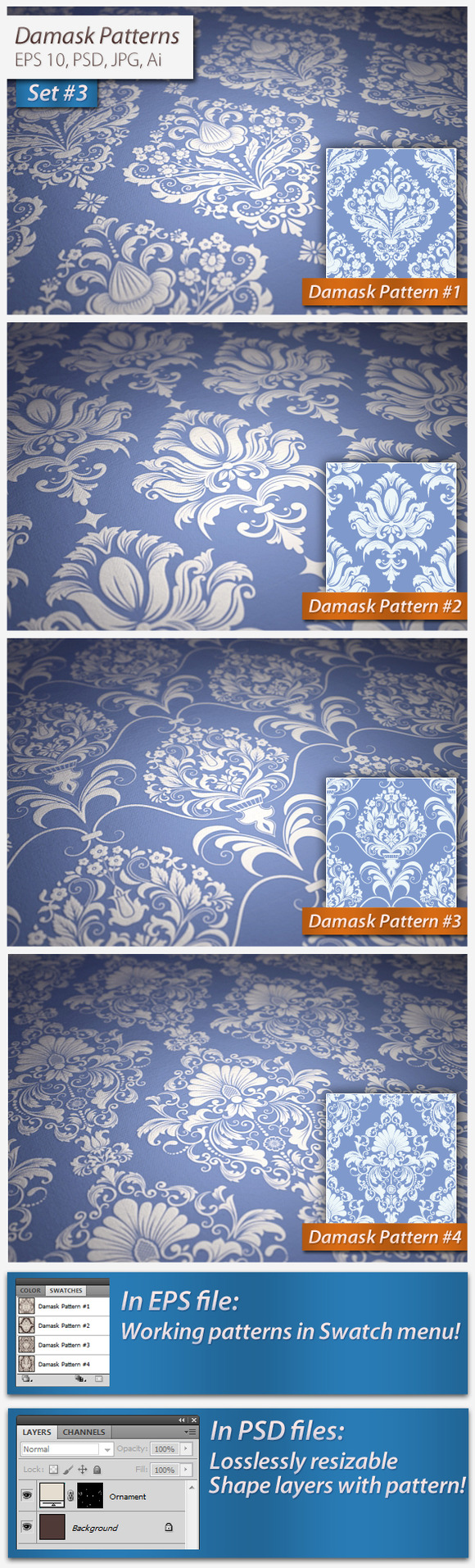 Vector Seamless Damask Patterns Set3