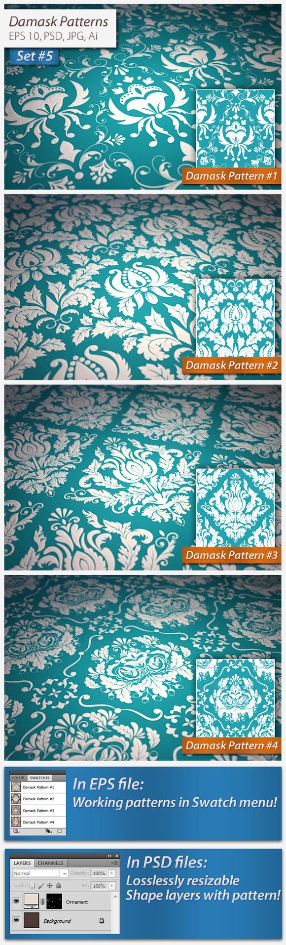 Vector Seamless Damask Patterns Set5