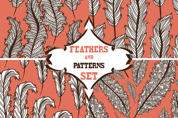 Pattern Set With Decorative Feathers