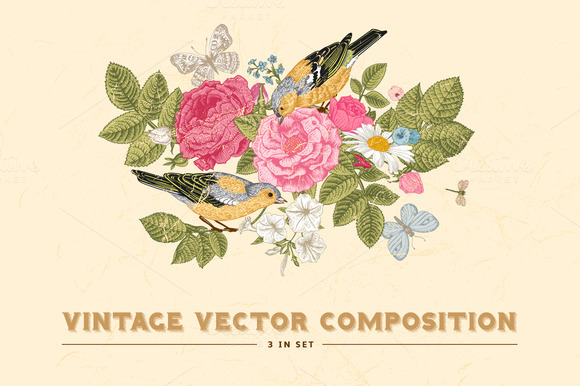 Vintage Floral Vector Card 3 In Set