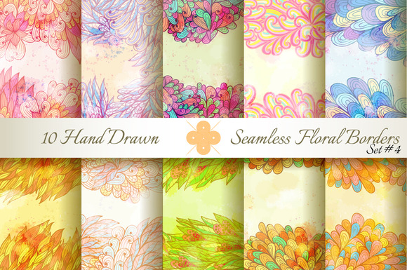 10 Floral Seamless Borders Set#4