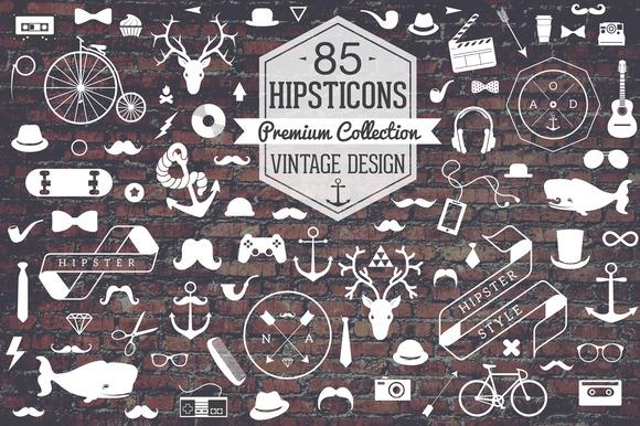 Retro Hipster Icon Set