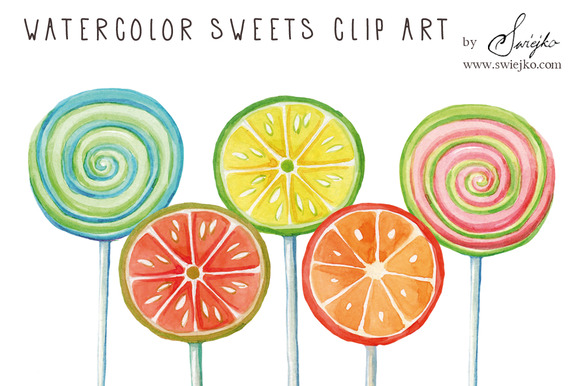 Watercolor Clip Art Lollipop