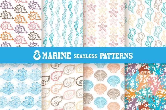 8 Marine Seamless Patterns