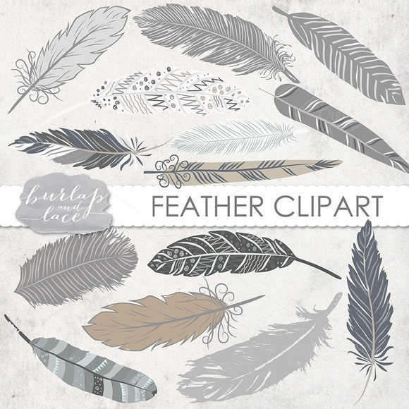 VECTOR Hand Drawn Clipart Feathers