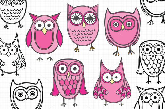 Pink Hand Drawn Owls