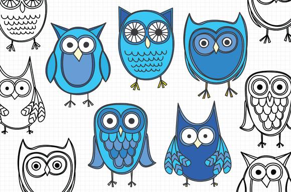 Owl Clip Art Blue