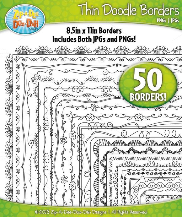 Thin Doodle Frame Borders Set 1