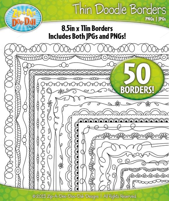 Thin Doodle Frame Borders Set 2