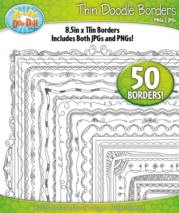 Thin Doodle Frame Borders Set 3