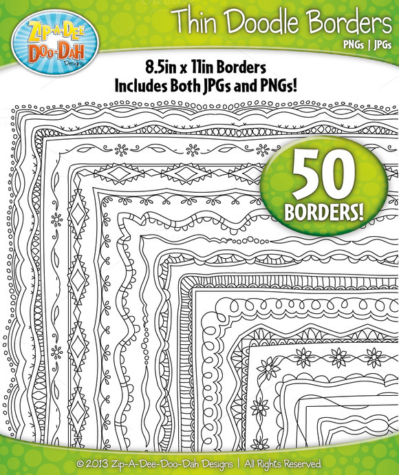 Thin Doodle Frame Borders Set 5