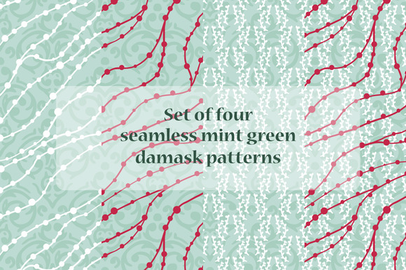 Seamless Mint Green Damask Patterns