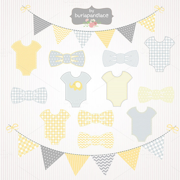 Baby Box Yellow Grey Clipart