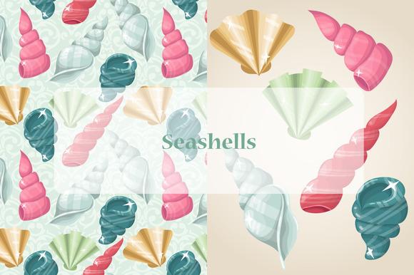Vector Pastel Seashells