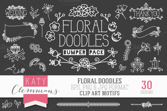Floral Doodles Clip Art Bumper Pack