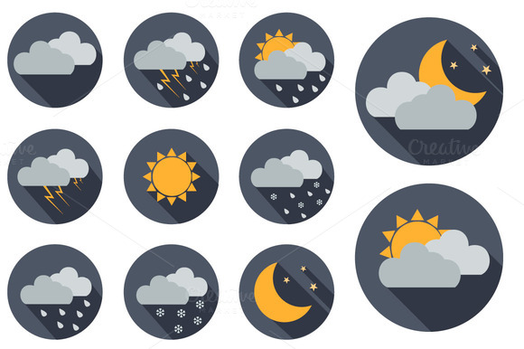 11 Vector Weather Icons Flat Design