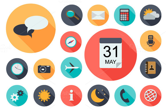 18 App Flat Icons