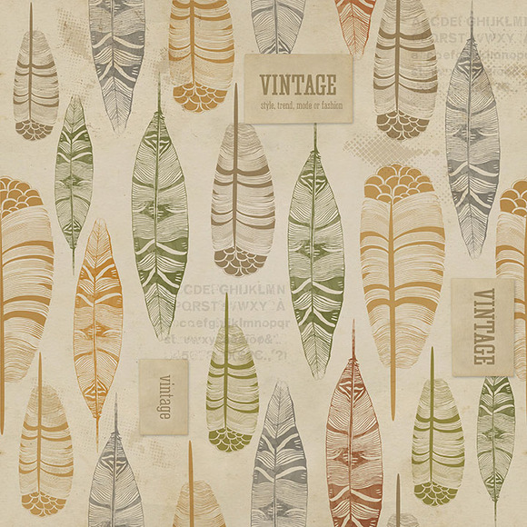 Vintage Feather Seamless Background