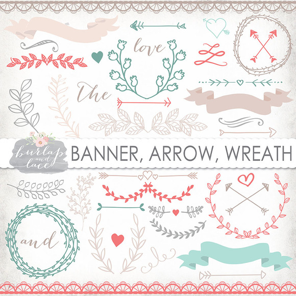 Vector Laurel Arrow Wreath Clipart