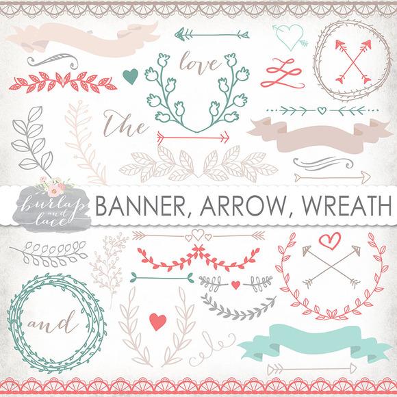 Vector Laurel Arrow Wreath Clipart