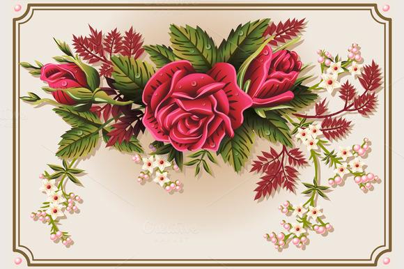 Roses Ornament On Vintage Frame