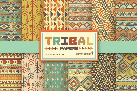 12 Tribal Aztec Digital Papers Pack