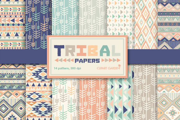 14 Tribal Aztec Digital Papers Pack
