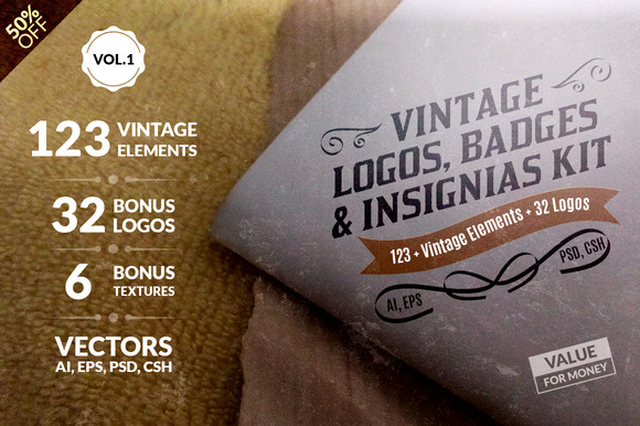 Vintage Logos Badges Kit-Value Pack