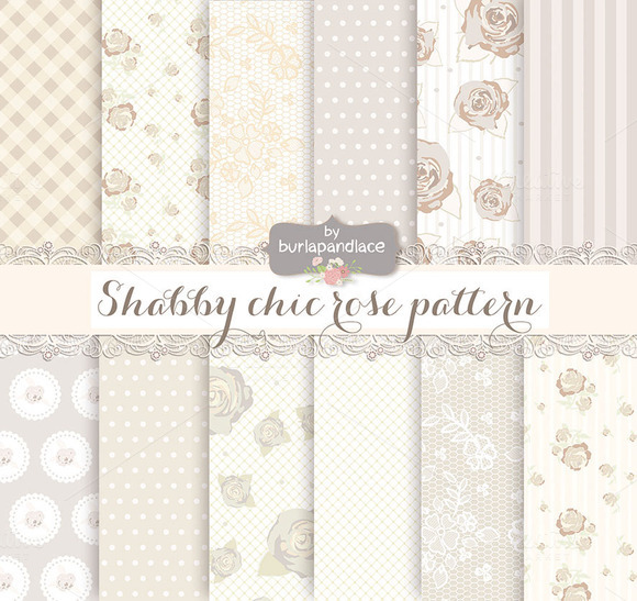 Shabby Chic Rose Beige Champagne