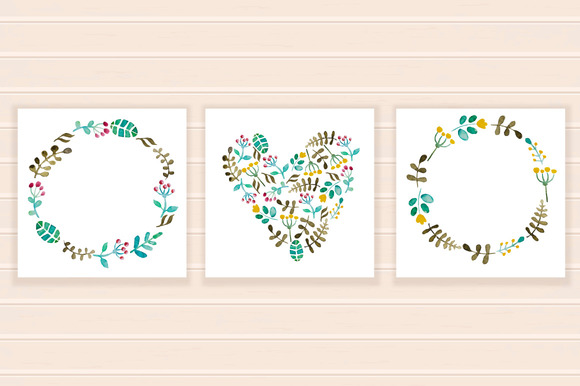 Watercolor Vector Frame Small Set