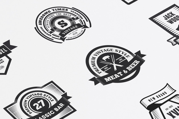 22 Vintage Templates Badges Logos