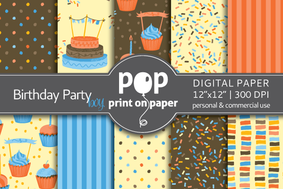 Birthday Party Boy Digital Paper