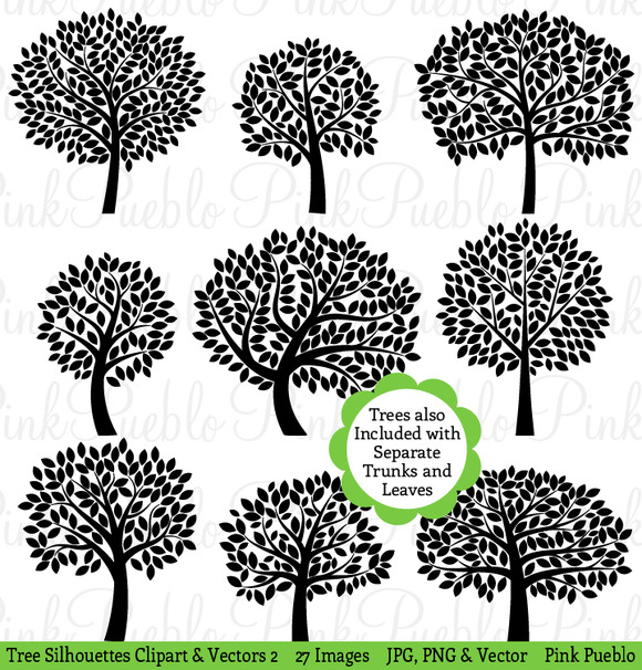 Tree Silhouettes Clip Art Vectors