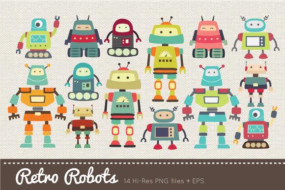 Retro Robots Clipart