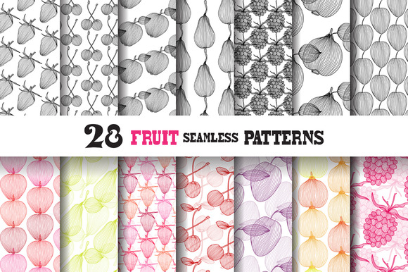 28 Fruit Seamless Patterns