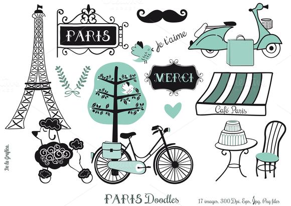 Paris Doodles Set Blue