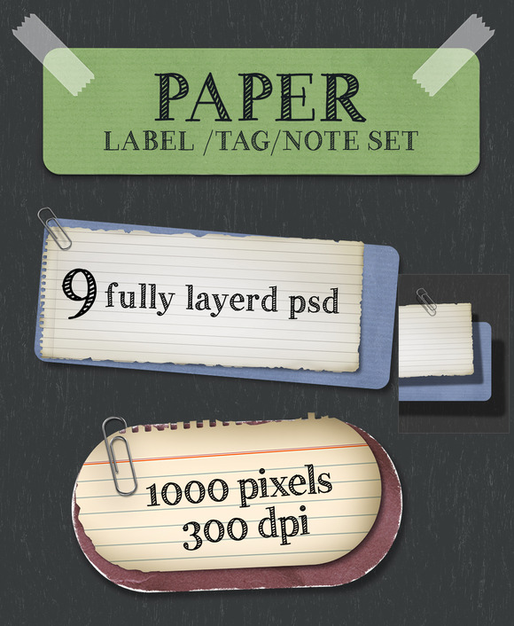 Paper Note Tag Label Set
