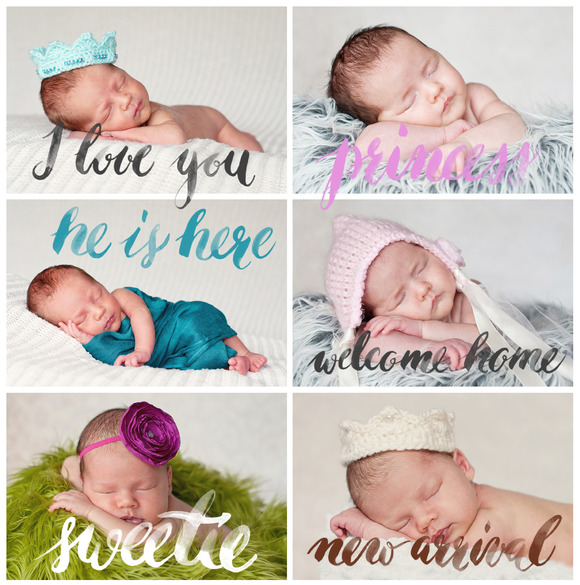 Newborn Photography Words Overlays