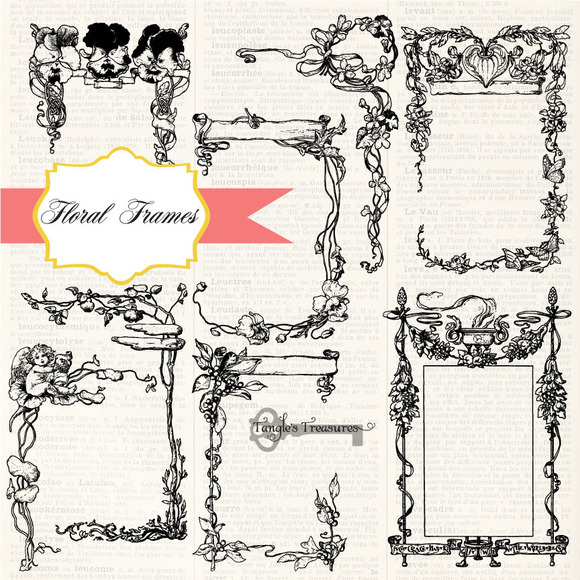 Flower Frames Vectors Brushes