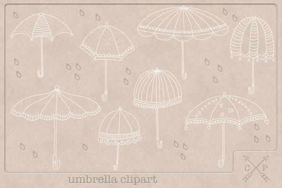 Doodle Umbrella Clipart White