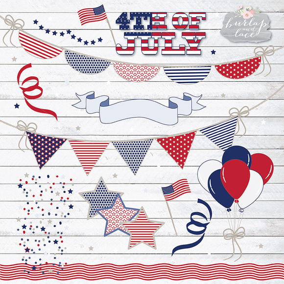 4th Of July Bunting Clip Art