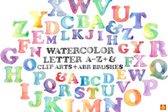 Watercolor A-Z Clip Arts ABR Brush