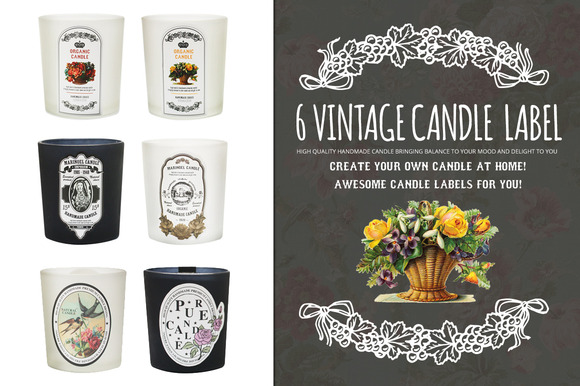 6 Vintage Antique Candle Label
