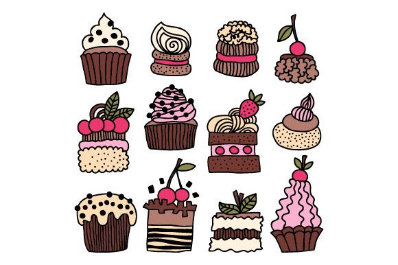 Hand Drawn Cakes Desserts