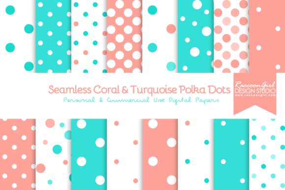 Coral Turquoise Polka Dots