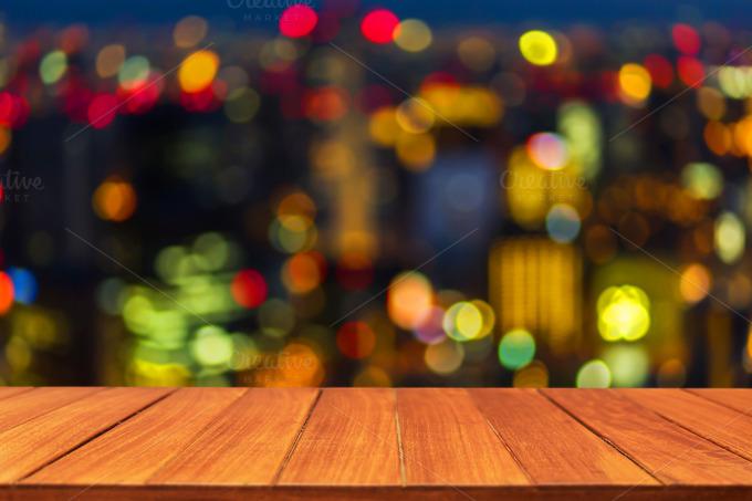 Wood Table Top On Bokeh Light