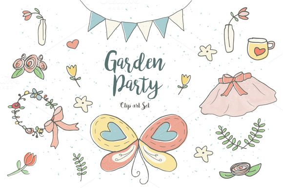 Garden Party Clip Art Set